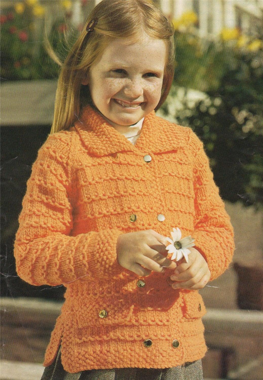 67567b724 Girls Coat Knitting Pattern PDF Childrens 26