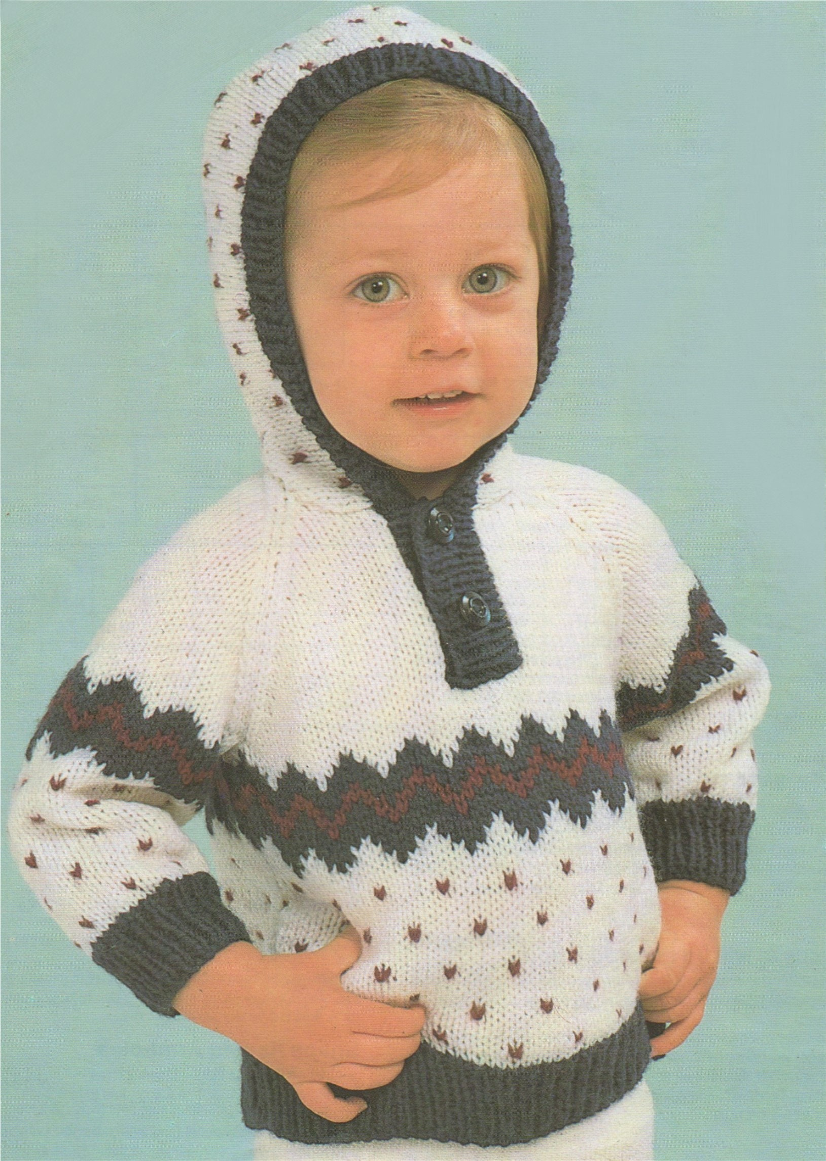 Babies Fair Isle Hoodie Sweater Knitting Pattern Pdf Baby Toddlers Boys Or Girls 18 20 22 Inch Chest Hooded Fair Isle Jumper Download