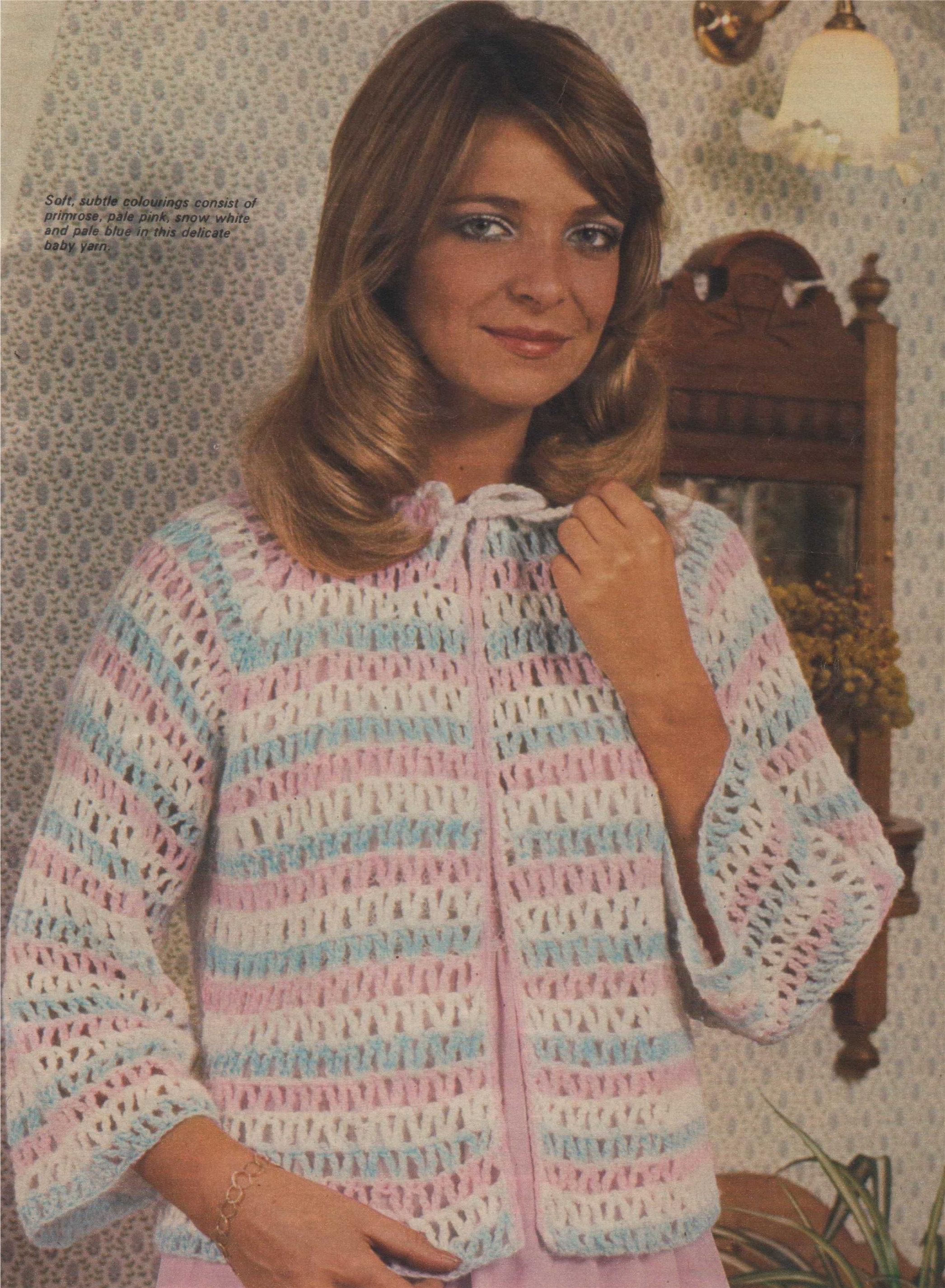 Womens Bedjacket Crochet Pattern Pdf Ladies 34 38 Inch Bust Bed