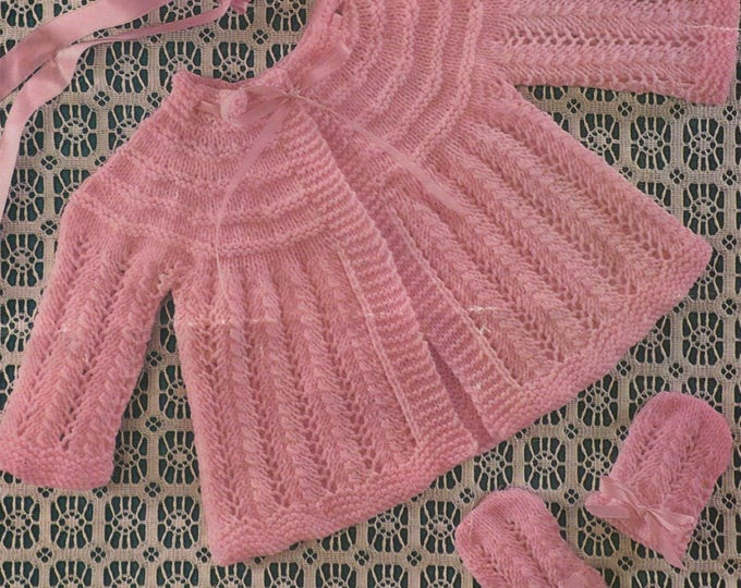 Babies Matinee Jacket, Bonnet, Mittens and Bootees Knitting Pattern PDF Baby Girls 19 or 20 inch chest, Vintage Knitting Patterns for Babies