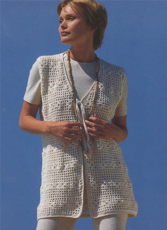 Womens Waistcoat Gilet Crochet Pattern Pdf Ladies 30 32 34 36