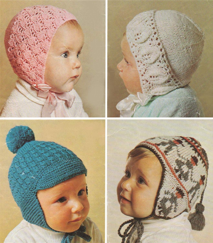 e241b84e535a Babies Fair Isle Folk Style Helmet Hat   Bonnet Knitting Pattern PDF ...