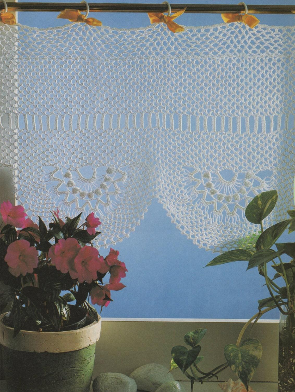 Half Net Curtain Crochet Pattern Pdf Curtain Panel Scallop Edge