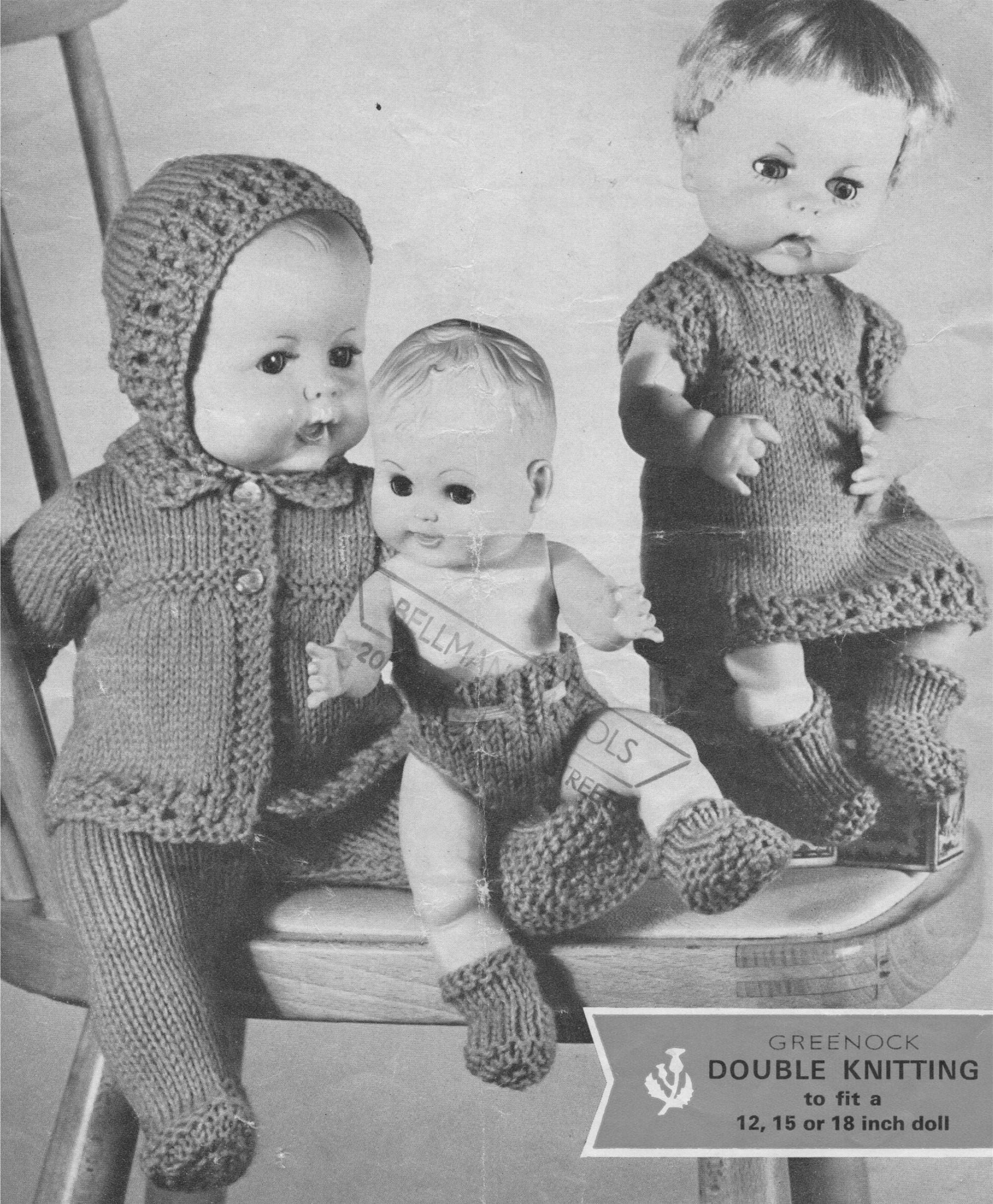 Dolls Clothes Knitting Pattern Pdf For 12 15 And 18 Inch Baby Etsy
