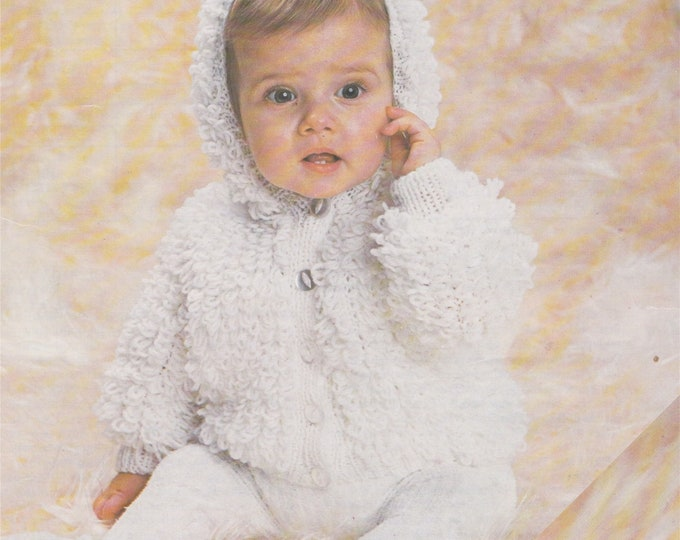Babies Loopy Hooded Jacket Knitting Pattern PDF in Loop Stitch, Baby Boys or Girls 18, 20 and 22 inch chest, Vintage Knit Patterns, Download