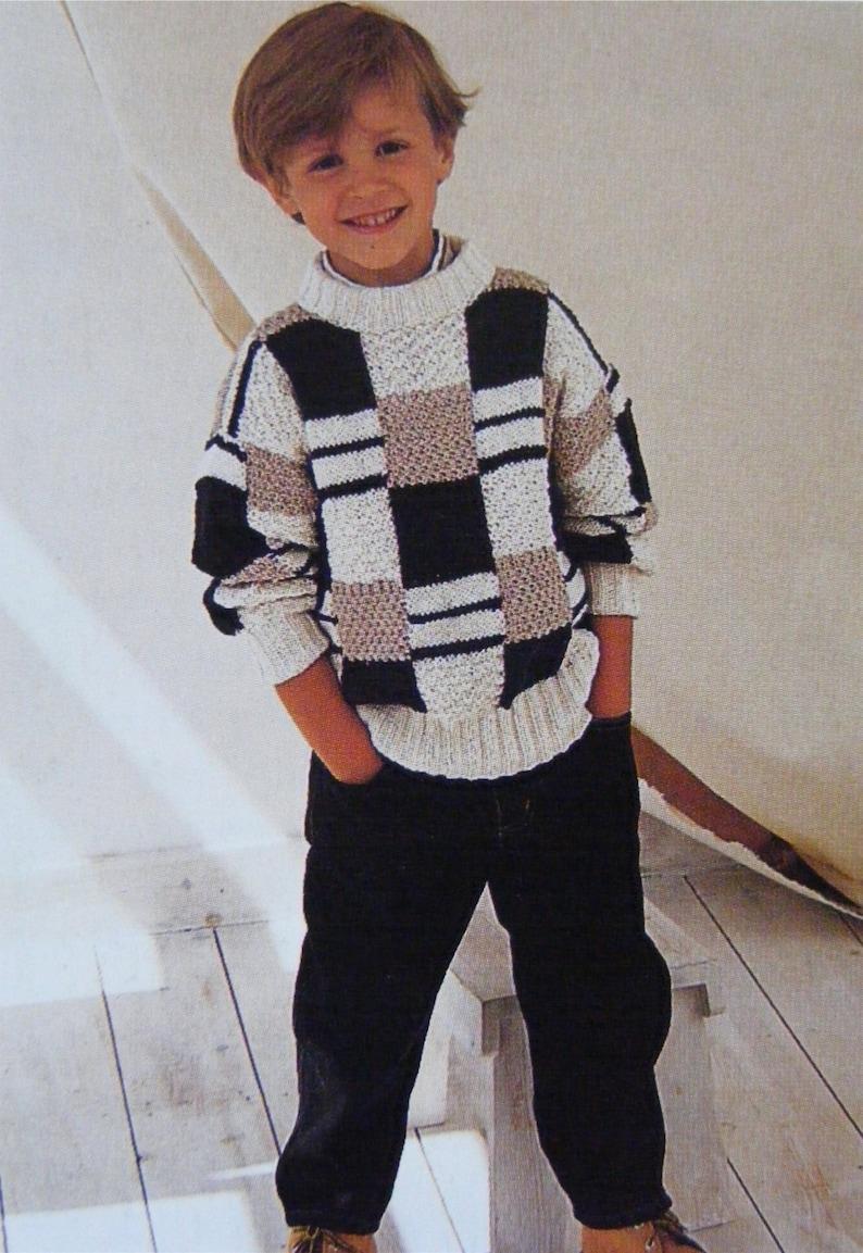 450c52779 Childrens Sweater Knitting Pattern PDF Boys or Girls 20 22