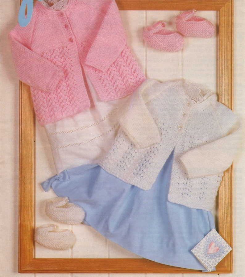 d3cbc4f86074 Babies Matinee Coat and Shoes Knitting Pattern PDF Baby Girls