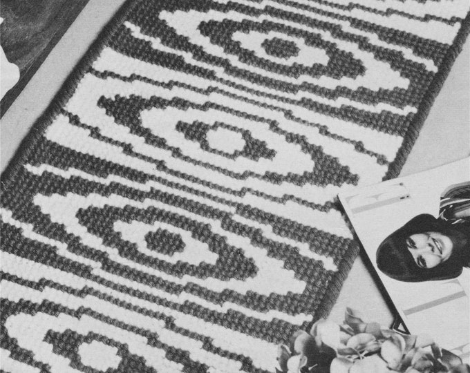 Whirlpool Motif Rug Pattern PDF worked in Cross Stitch, Home Accessories, Foor Mat, Turkey Rug Wool, Vintage Patterns for the Home