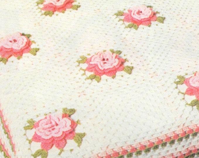 Rose Flower Bedspread Crochet Pattern PDF Bed Cover, Bedroom Blanket, Throw, Afghan, Vintage Crochet Patterns for the Home, pdf Download