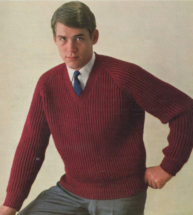 Mens Crew Or V Neck Sweater Knitting Pattern Pdf Mans 38 40 Etsy