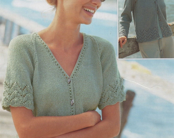 Womens Lacy Edged Cardigan Knitting Pattern PDF Ladies 32, 34, 36, 38, 40 and 42 inch bust, Long Sleeves and Short Sleeves, pdf Download