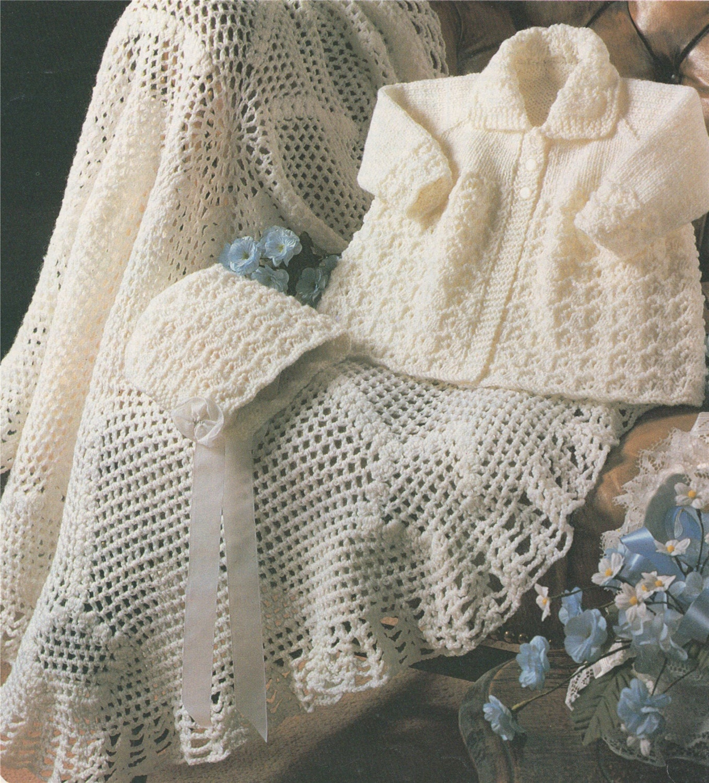 Baby Shawl Crochet Pattern And Matinee Coat And Bonnet Knitting