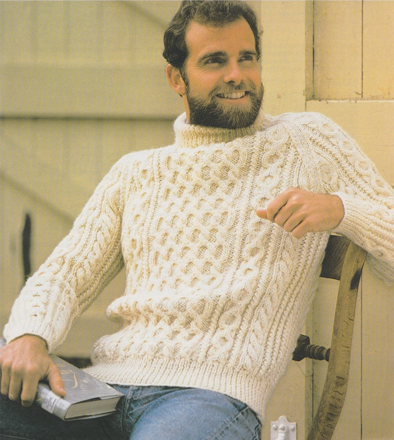 fe04b057f1b9d4 Mens Aran Sweater Knitting Pattern PDF Mans 32 34 36 38