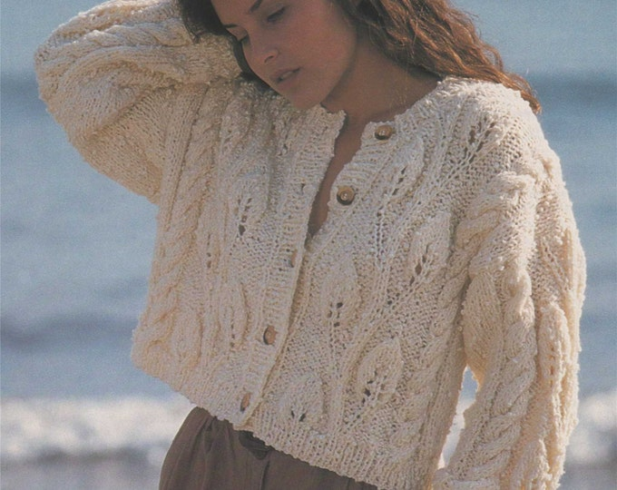 Womens Jacket Knitting Pattern PDF Ladies 30, 32, 34, 36 and 38 inch chest, Patterned Cropped Cardigan, Vintage Knitting Patterns for Women