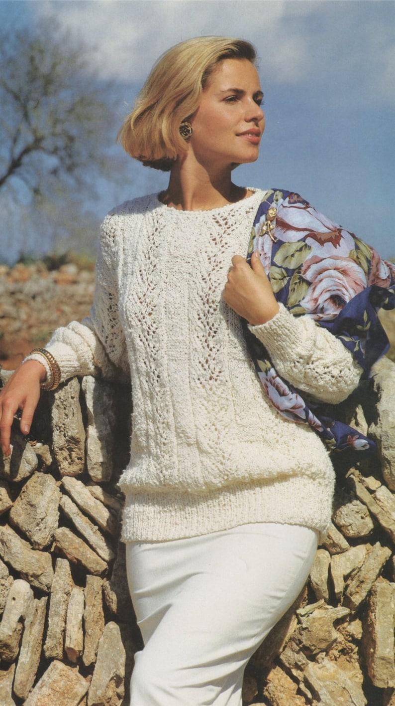 Patterned Jumper Womens Sweater Knitting Pattern PDF Ladies 33-39 inch bust Vintage Knitting Patterns for Women epattern Download