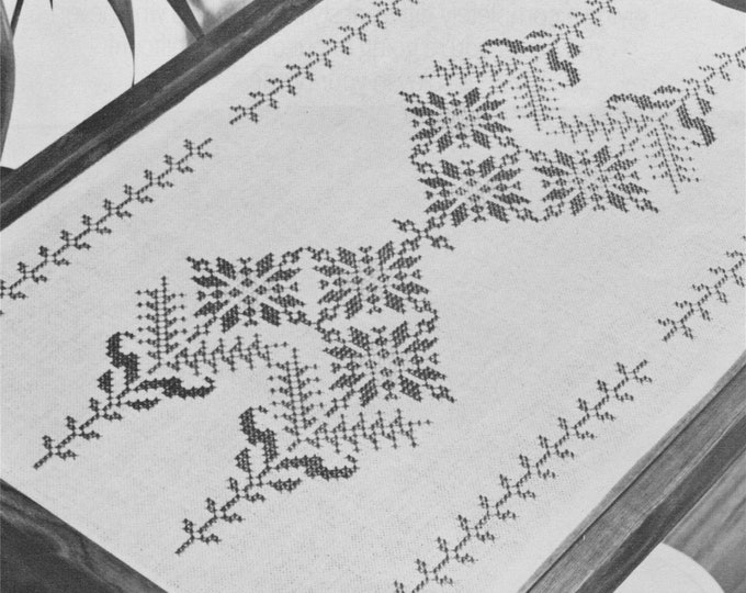 Tray Cloth Cross Stitch Pattern PDF with Chart, Table Linen, DIY Home Decor, Embroidery, Vintage Cross Stitch Patterns