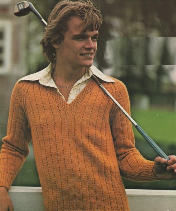 427ec9f0e V Neck Sweater Knitting Pattern PDF Boys and Mens 26 28 30
