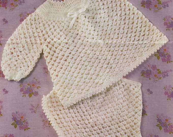 Baby Girls Angel Top and Pants Crochet Pattern PDF . Babies 18 and 20 inch chest . 4 Ply . Short Dress . Nappy Cover-up . e-pattern Download