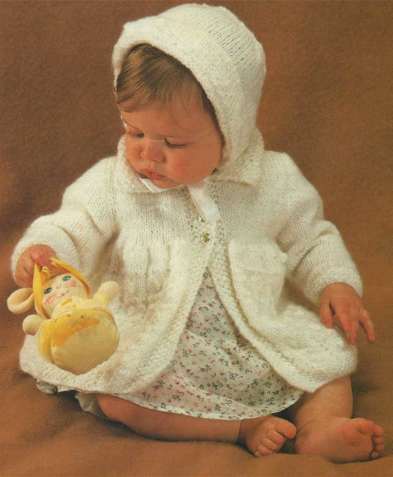0d374ecee Babies Coat and Bonnet Knitting Pattern PDF Baby Girls 17 18