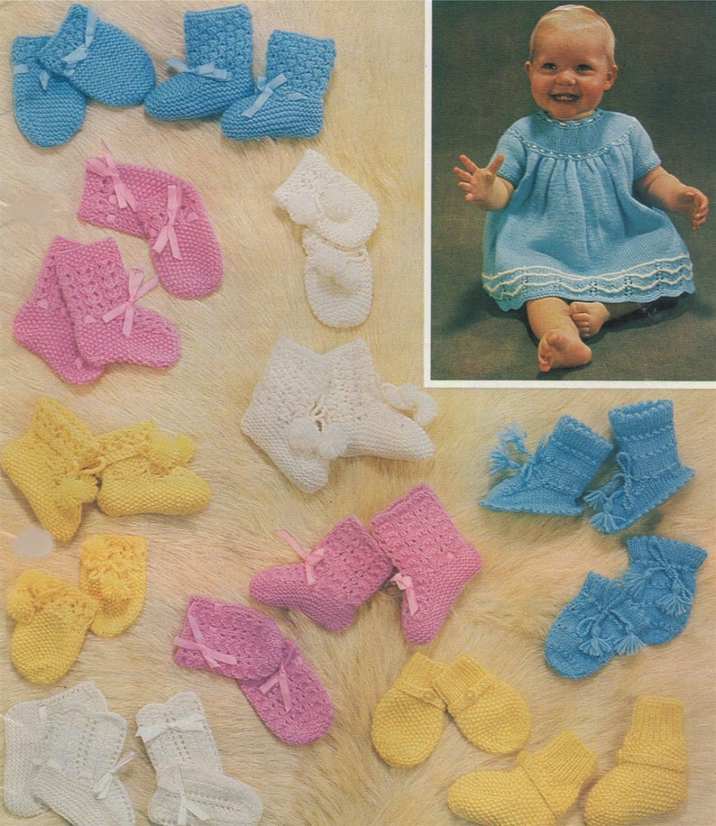 555dd7908 Babies Matinee Coat Dress Mittens and Bootees Knitting