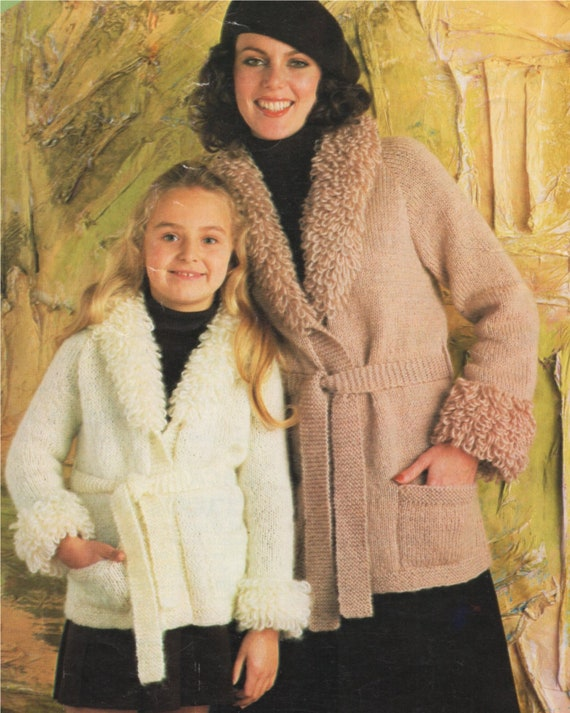 1970s Vintage Instant download PDF Girls womens jacket with collar cable knit button up cardigan children Aran knitting pattern PDF 26-36