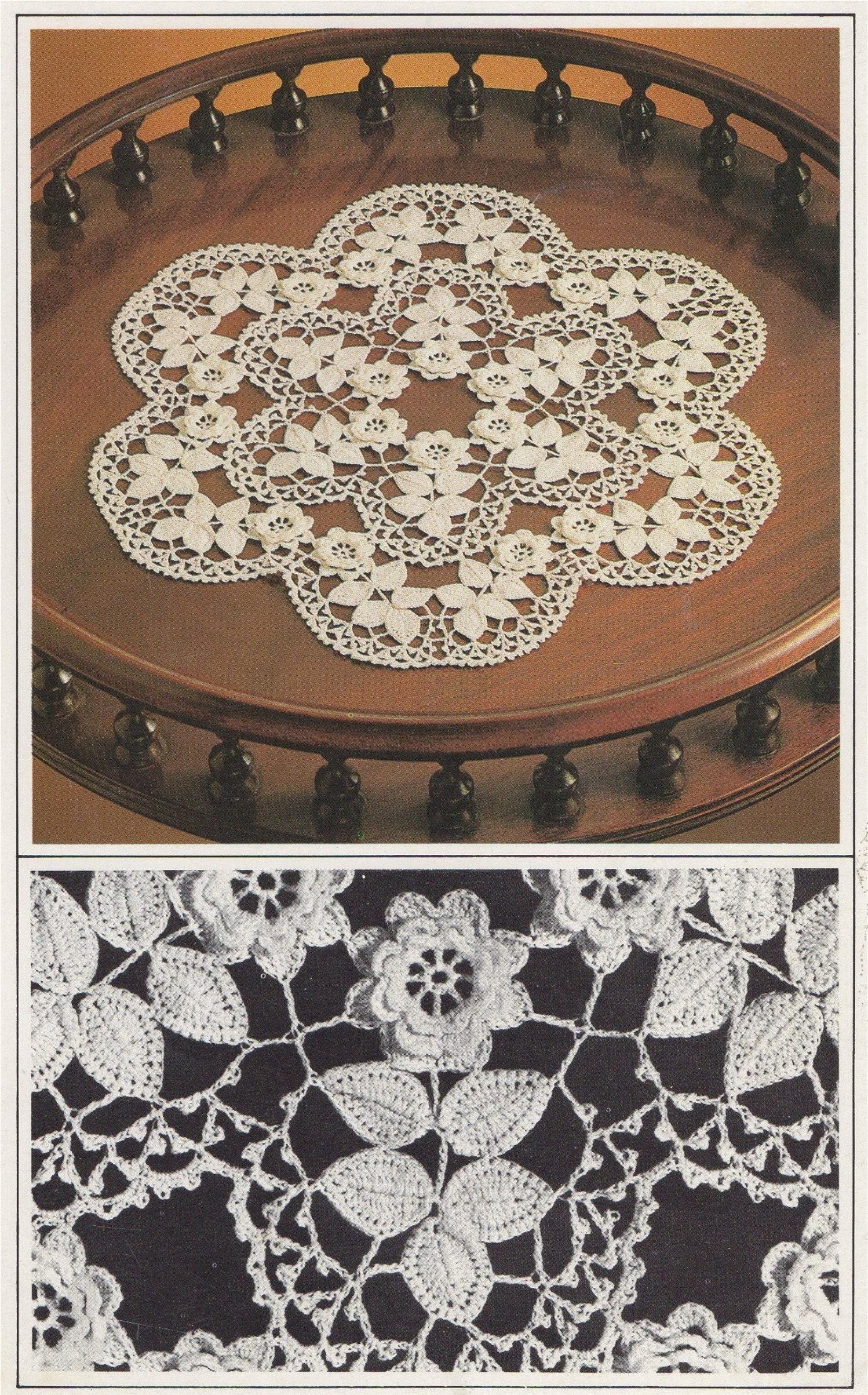 Rose Doily Irish Crochet Pattern Pdf Floral Placemat Table Mat