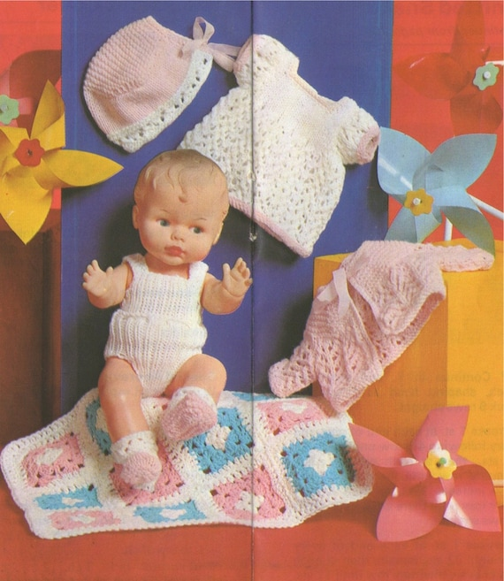 Dolls Clothes Knitting Pattern Pdf For 12 And 14 Inch Baby Etsy