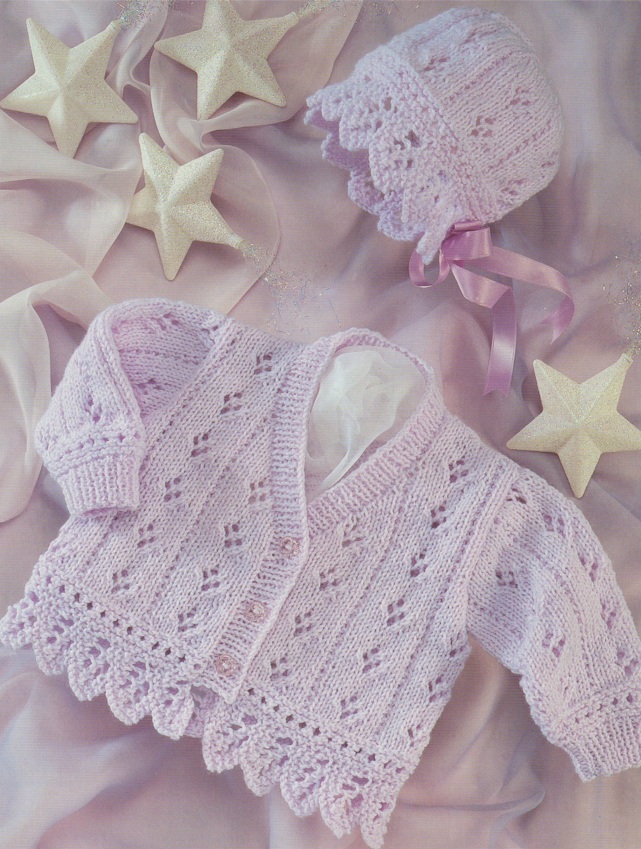 acfbac09c3d1 Baby Girls Cardigan and Bonnet Knitting Pattern PDF Babies Toddlers ...