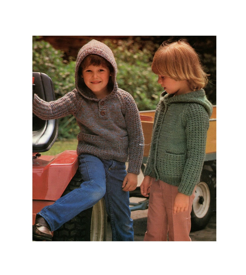 epattern Download Childrens Hooded Sweater and Cardigan Knitting Pattern PDF for Boys or Girls 20 Hoodie Jumper 24 and 26 inch chest 22