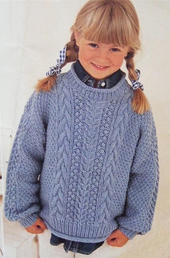 Childrens Aran Sweater Knitting Pattern PDF Boys or Girls 20