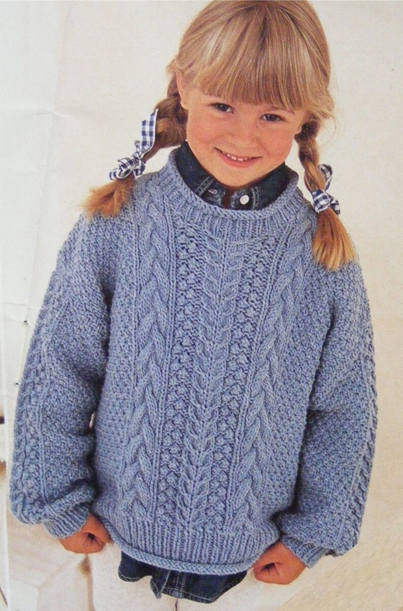 2af35867595 Childrens Aran Sweater Knitting Pattern PDF Boys or Girls 20, 22, 24, 26,  28 and 30 inch chest, Toddlers and Babys, Patterned Aran Jumper