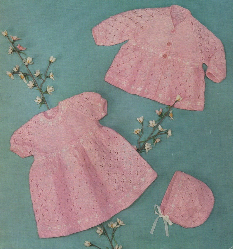 fbf2a247dd2e Baby Girls Dress Matinee Jacket and Bonnet Knitting Pattern