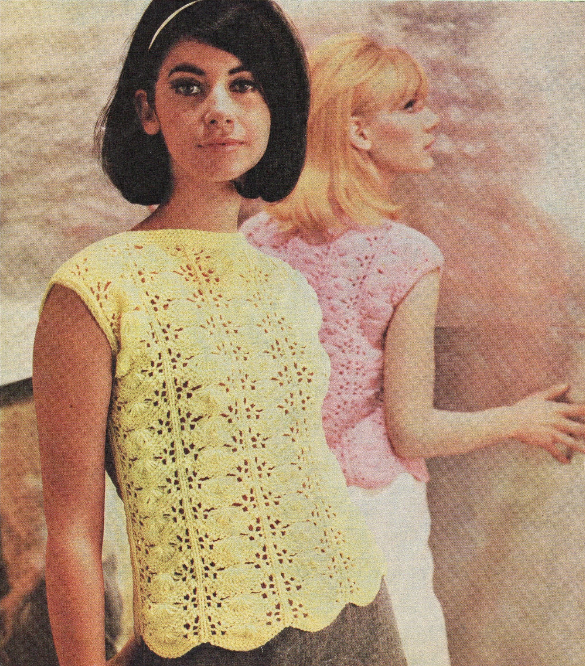 PDF Ladies Lace Summer Top Knitting Pattern Cotton DK34-38 inch loose fitting mesh net Downloadable