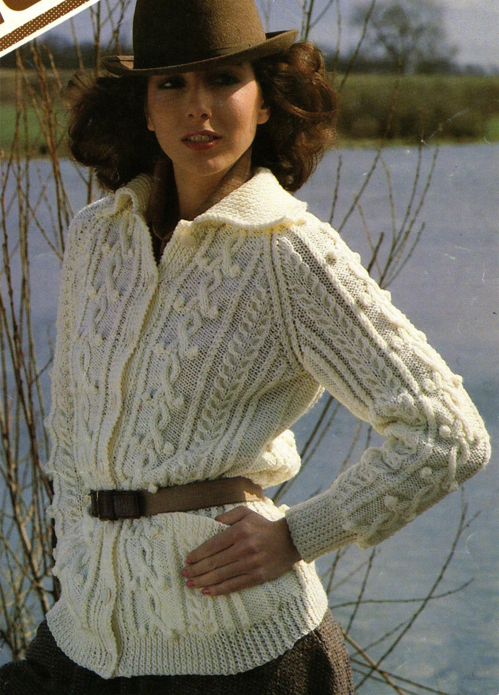Womens Aran Jacket Knitting Pattern PDF Ladies 34, 36, 38 ...