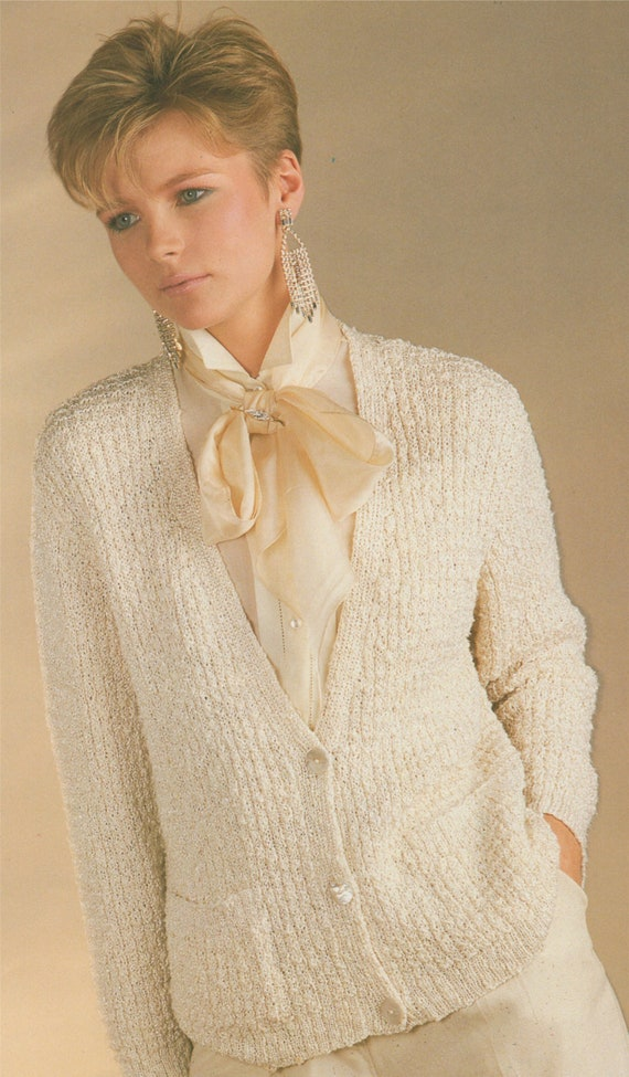 c9d1fc985ffa Womens V Neck Cardigan Knitting Pattern PDF Ladies 32 34 36