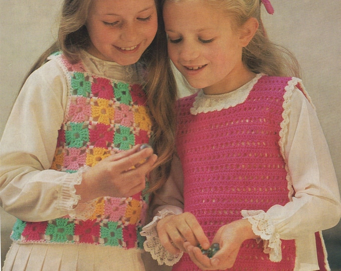Girls Top Crochet Pattern PDF 22, 24, 26, 28 inch chest, Tank Top Pullover, Vintage Crochet Patterns for Children, e-pattern Download
