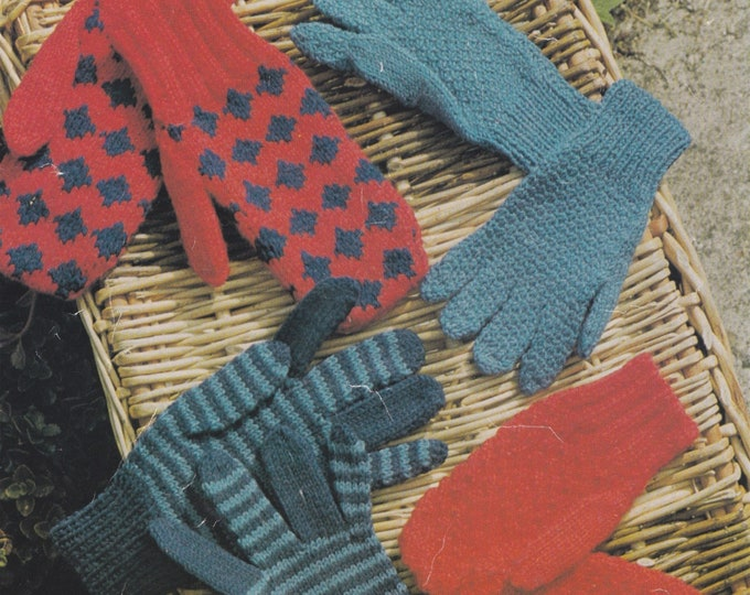 Childrens Gloves and Mittens Knitting Pattern PDF, Winter Hand Warmers, Vintage Knitting Patterns for Children