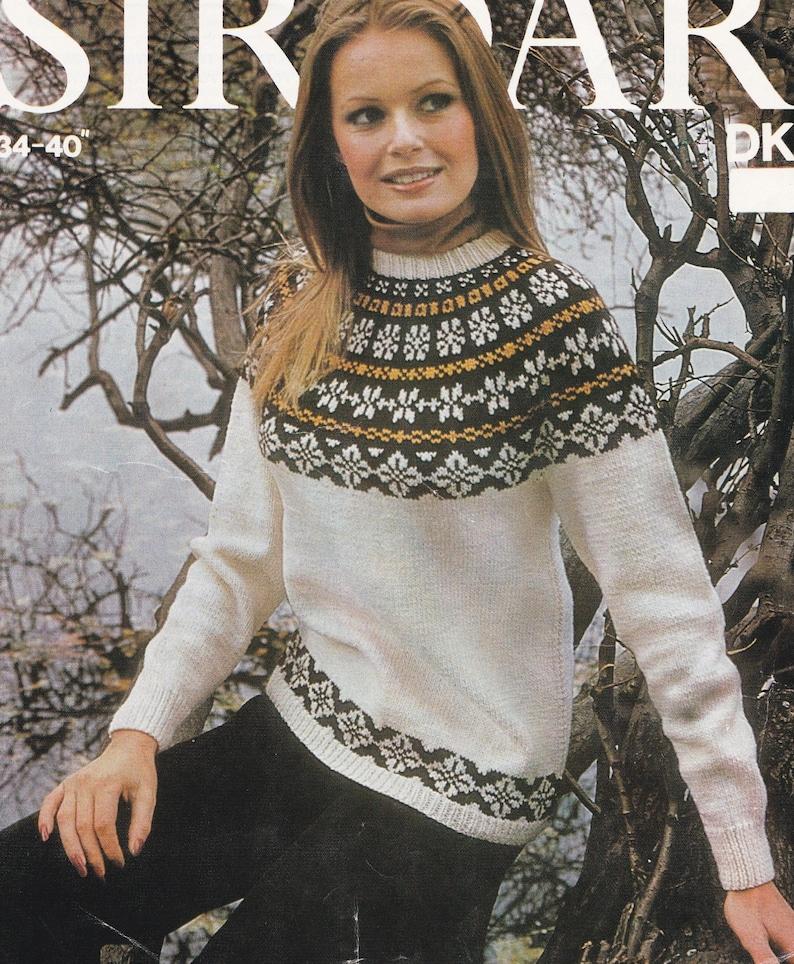 44f07713b84 Womens Fair Isle Yoke Sweater Knitting Pattern PDF Ladies 34
