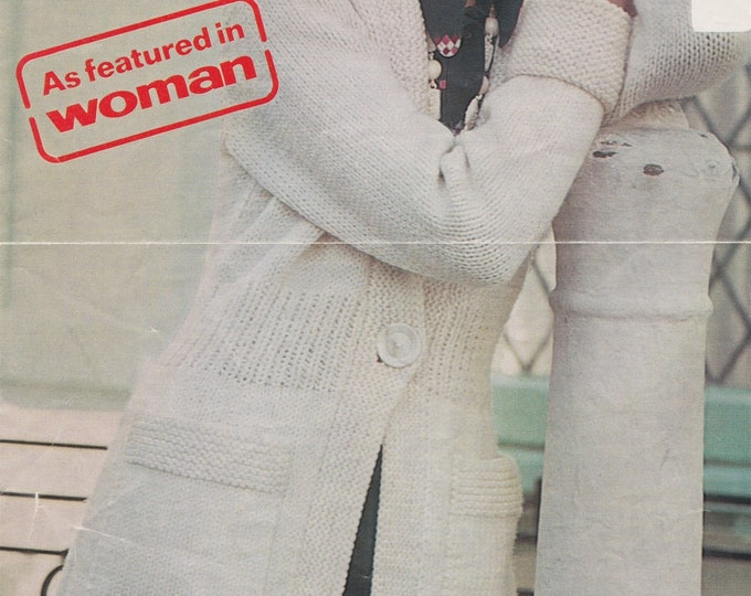 Womens Long Cardigan with Pockets Knitting Pattern PDF Ladies 32, 34, 36 and 38 inch bust, Jacket, Chunky Yarn, Vintage Patterns for Women