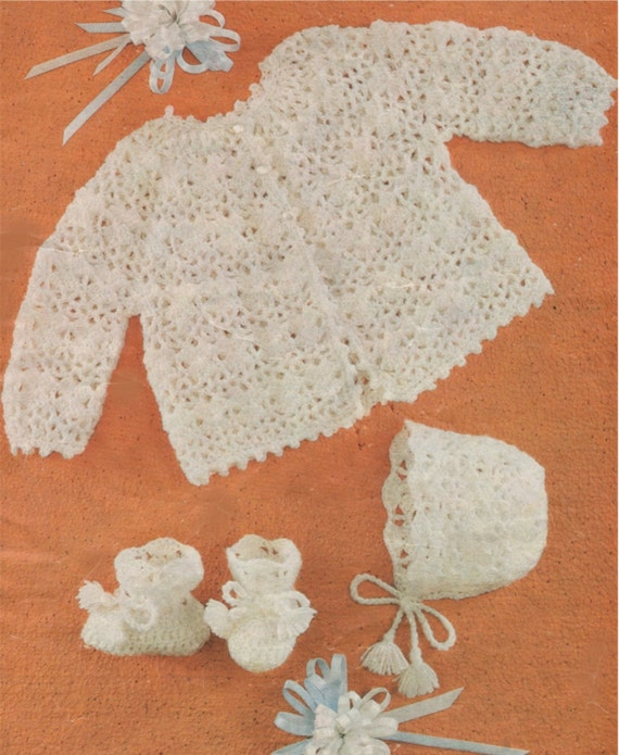 d34dc640c937 Baby Matinee Coat Bonnet and Bootees Crochet Pattern PDF