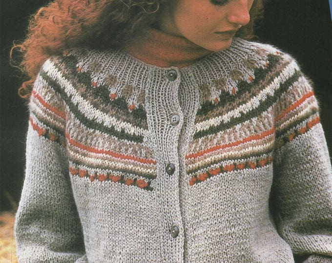 Womens Fair Isle Cardigan Knitting Pattern PDF Ladies 32 - 34, 36 - 38 and 40 - 42 inch chest, Vintage Knitting Patterns for Women