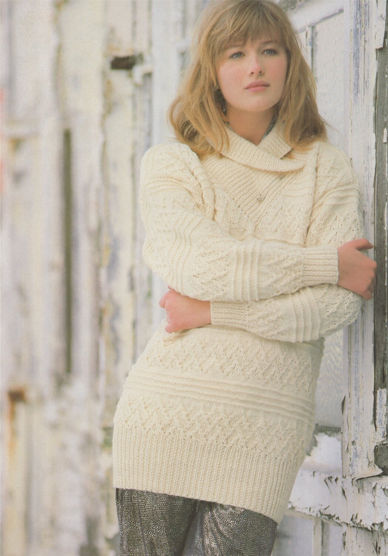 cd0f92a52936 Womens Aran Sweater Knitting Pattern PDF with Wrap Neck Collar ...