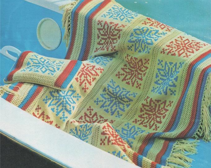 Fair Isle Throw Knitting Pattern PDF with Crochted Edge, Fair Isle Blanket, Afghan, Cushion, Vintage Fair Isle Knitting Patterns, Download