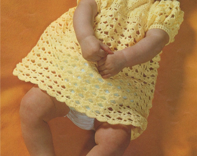 Baby Girls Dress and Shoes Crochet Pattern : Babies 18 inch chest . 3 ply . PDF Crochet Patterns . e-patterns Download