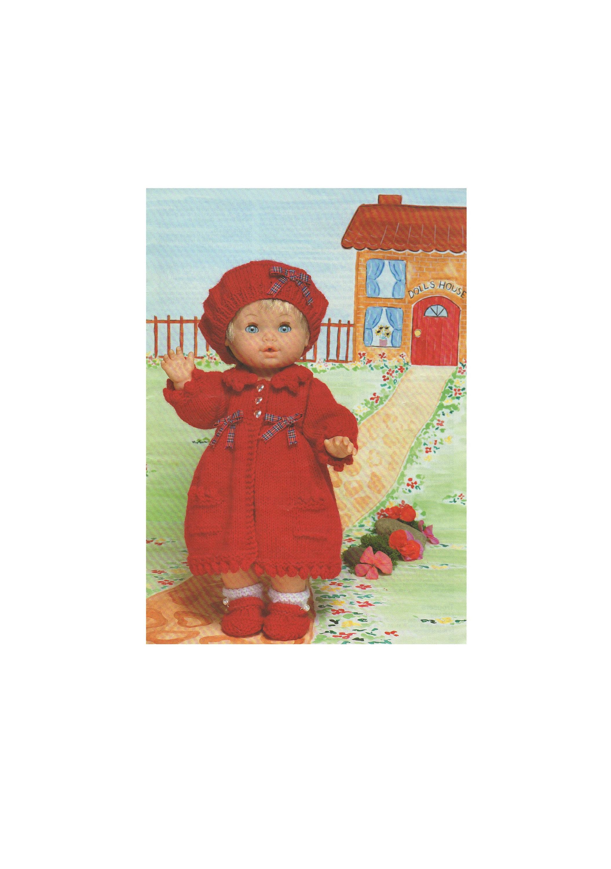 ab0b49b4ff529 Dolls Clothes Knitting Pattern PDF for 12 - 14