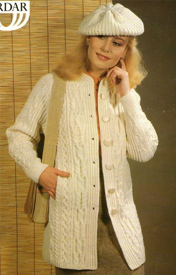 68ad88c07fcd Womens Aran Coat and Beret Knitting Pattern PDF Ladies 32 34