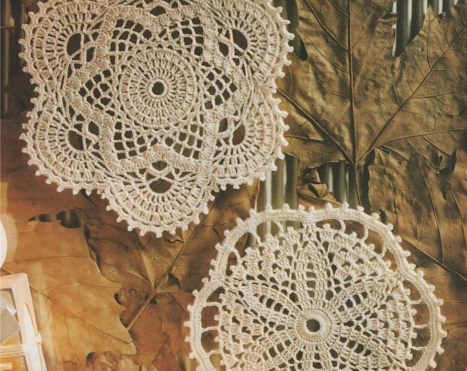 Doily Crochet Pattern PDF 2 Designs, Round Doily Mat, Mandala, Circular Placemat, Table Mat, Vintage Crochet Patterns for the Home, Download