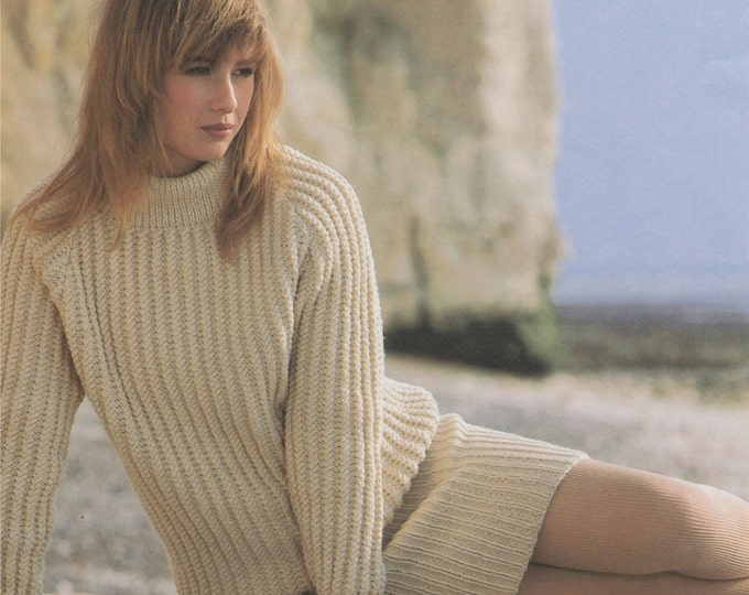 Aran Sweater and Skirt Knitting Pattern PDF Ladies 30, 32, 34, 36, 38 and 40 inch chest, Vintage Knitting Patterns for Women, e-patterns