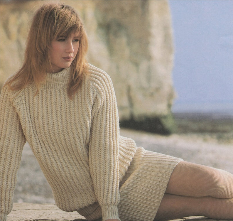 34 38 and 40 inch chest Vintage Knitting Patterns for Women Aran Sweater and Skirt Knitting Pattern PDF Ladies 30 e-patterns 32 36