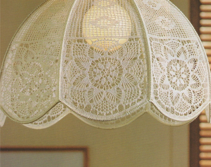 Lampshade Cover Crochet Pattern PDF Home Accessories, Lamp Shade, Vintage Crochet Patterns for the Home, e-patterns Download